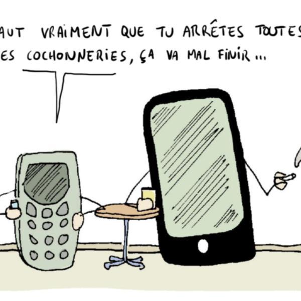 """Un vieux téléphone discute avec un smartphone dernière génération : """"faut vraiment que tu arrêtes toutes ces cochonneries ça va mal finir"""""""