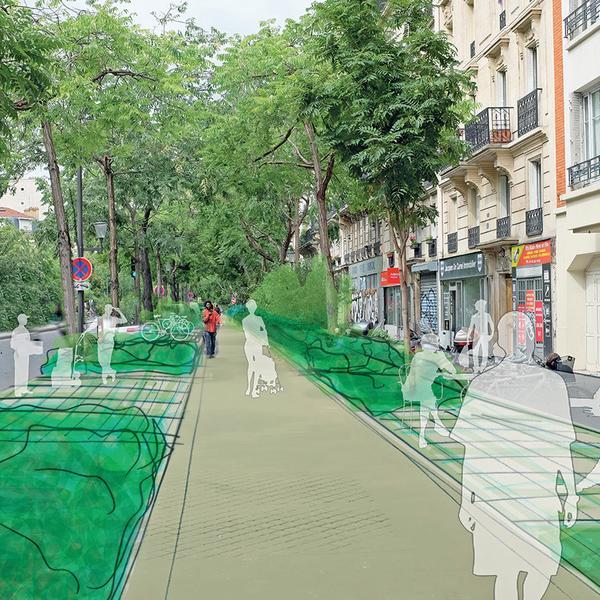 Esquisse du Boulevard Saint-Marcel tel qu'il pourrait être végétalisé / Crédits photo APUR