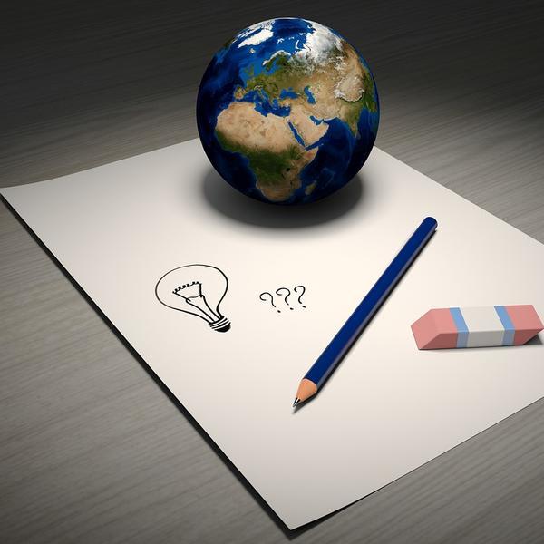 Photo de la Terre sur une feuille de papier