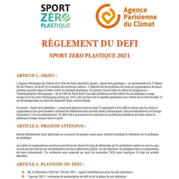 Règlement intérieur du défi Sport zéro plastique