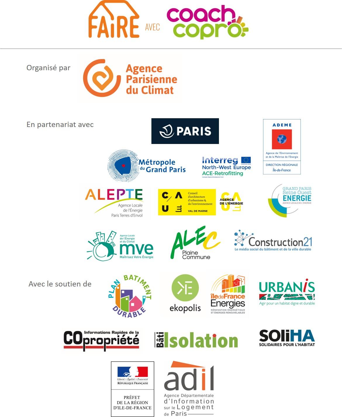Logos partenaires des Trophées CoachCopro