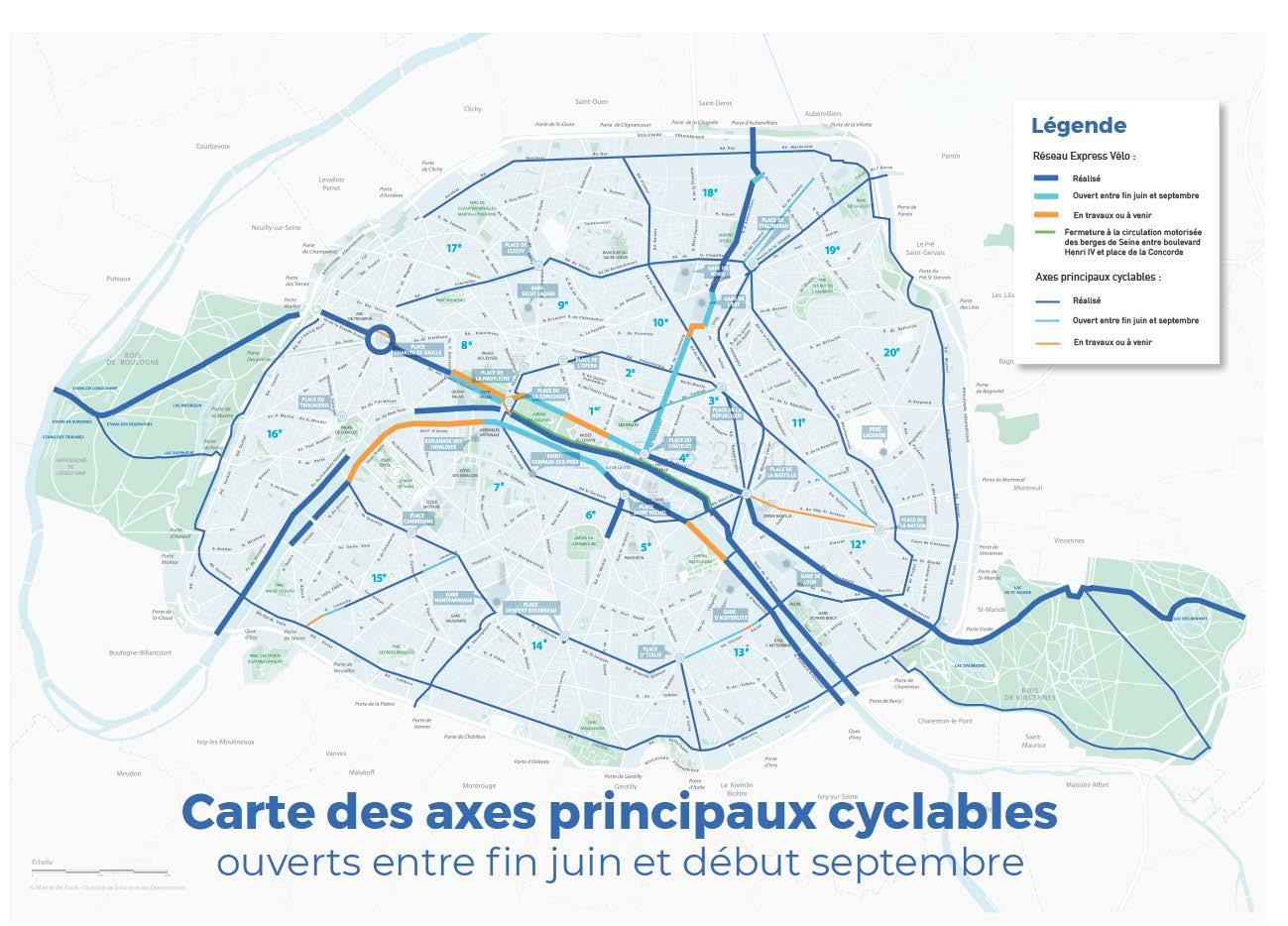 Le réseau de pistes cyclables à Paris